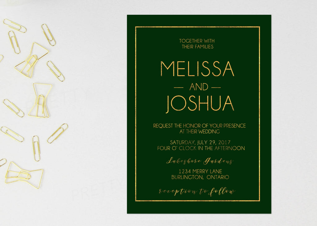Green And Gold Wedding Invitation