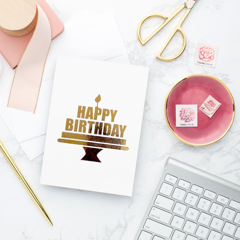 Happy Birthday Cake Gold Foil Card