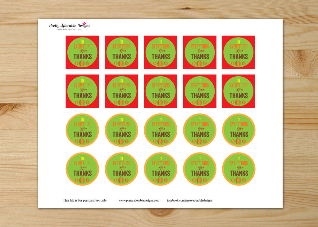 Thanksgiving Cupcake  Toppers : In Everything Give Thanks Instant Download