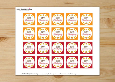 Thanksgiving Cupcake Square Toppers : Pumpkin and Fall Leaves Digital Download