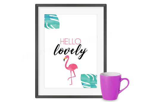 Hello Lovely Flamingo Art  Print