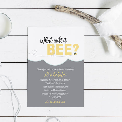 What Will It Bee Custom Baby Shower Invitations
