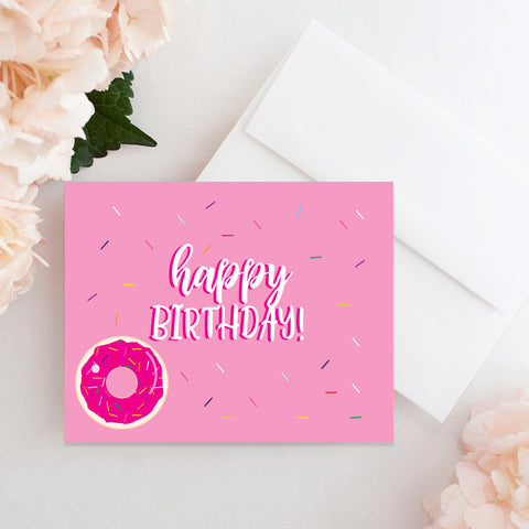 Happy Birthday Donut  And Sprinkles Card