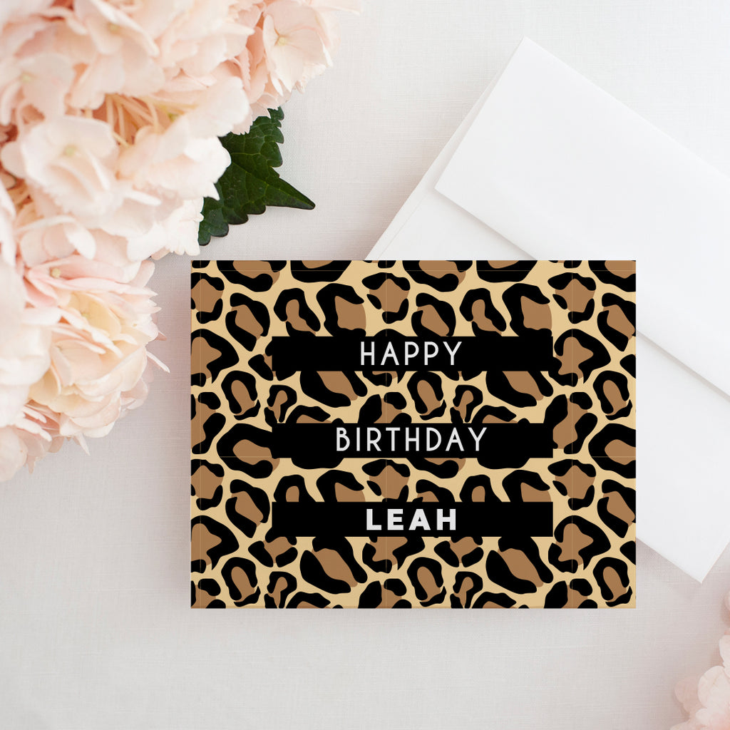 Custom Leopard Birthday Card