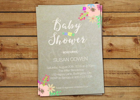 Floral Kraft Baby Shower Invitations