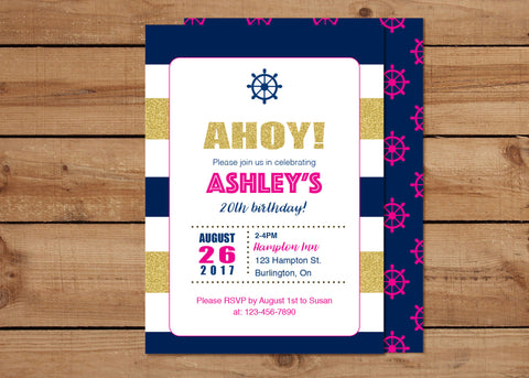 Ahoy Nautical Birthday Invitations