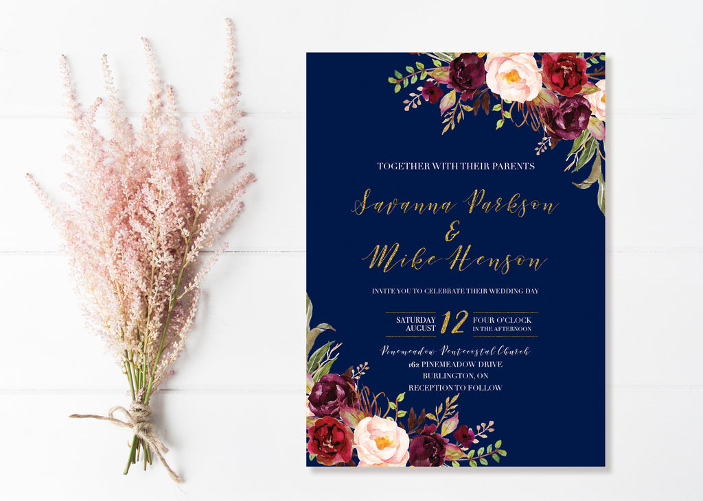 Navy And Marsala Wedding Invitations