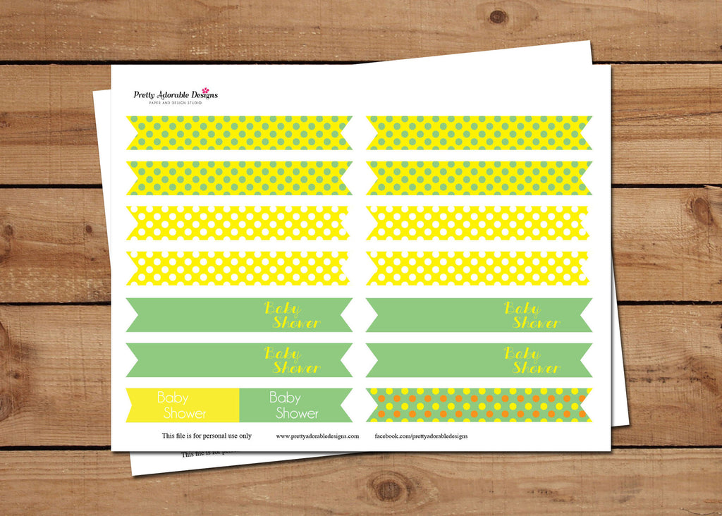 Polkadot  Baby Shower  Party Flags Digital Download