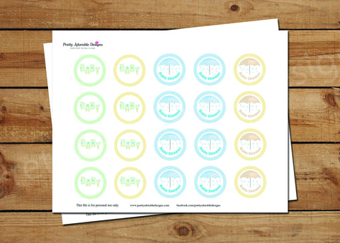 It's Raining Baby Shower Cupcake Toppers Printable