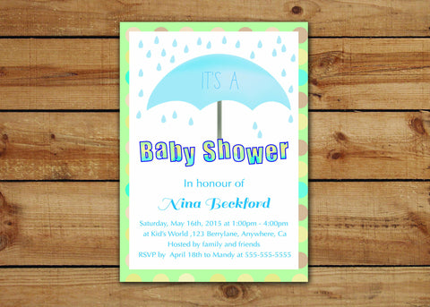 Baby Shower Invitations: It's Raining