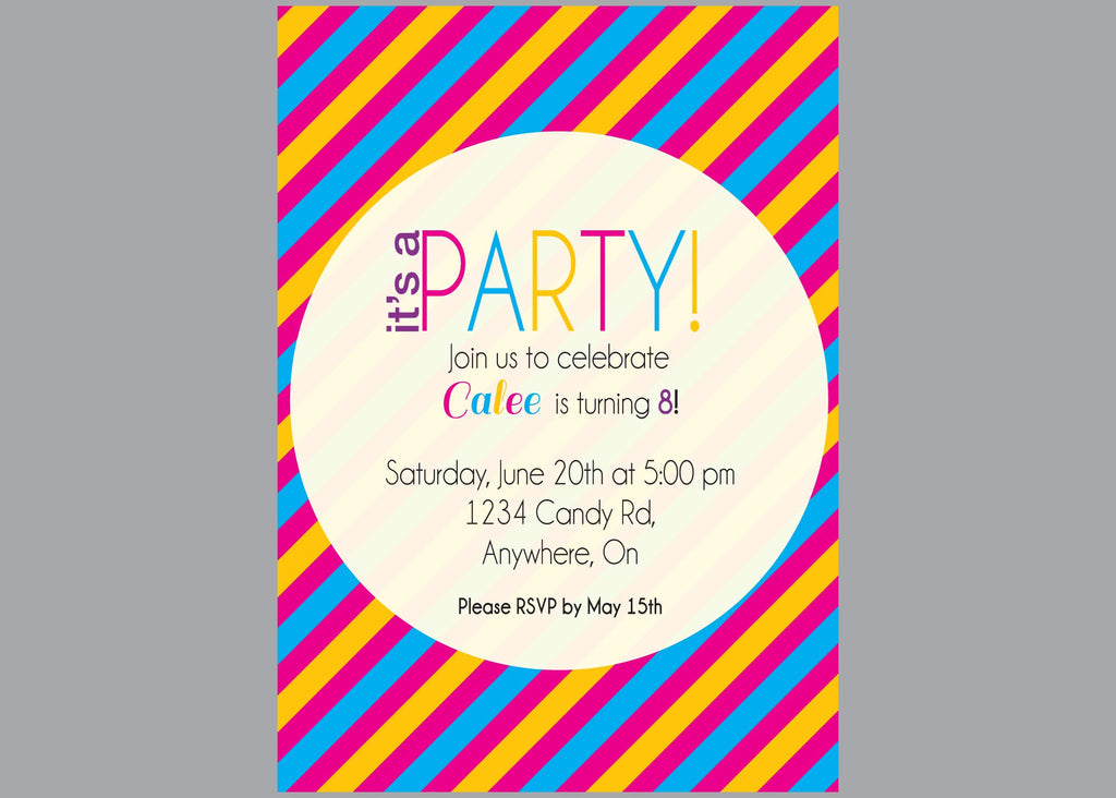 Striped Party Invitations