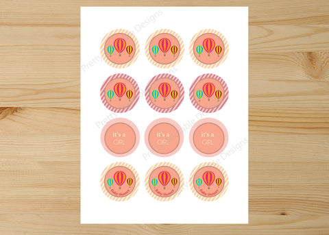 Hot Air Balloon Printable Baby Shower Cupcake Toppers