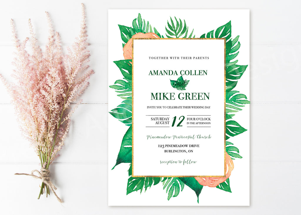 Tropical Wedding Invitations With Gold Border
