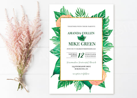 Tropical Wedding Invitations With Border
