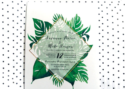 Tropical Leaves Wedding Invitations