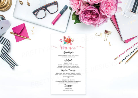Custom Watercolour Floral Wedding Menu