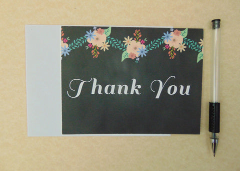 Chalkboard  Floral Thank You Cards