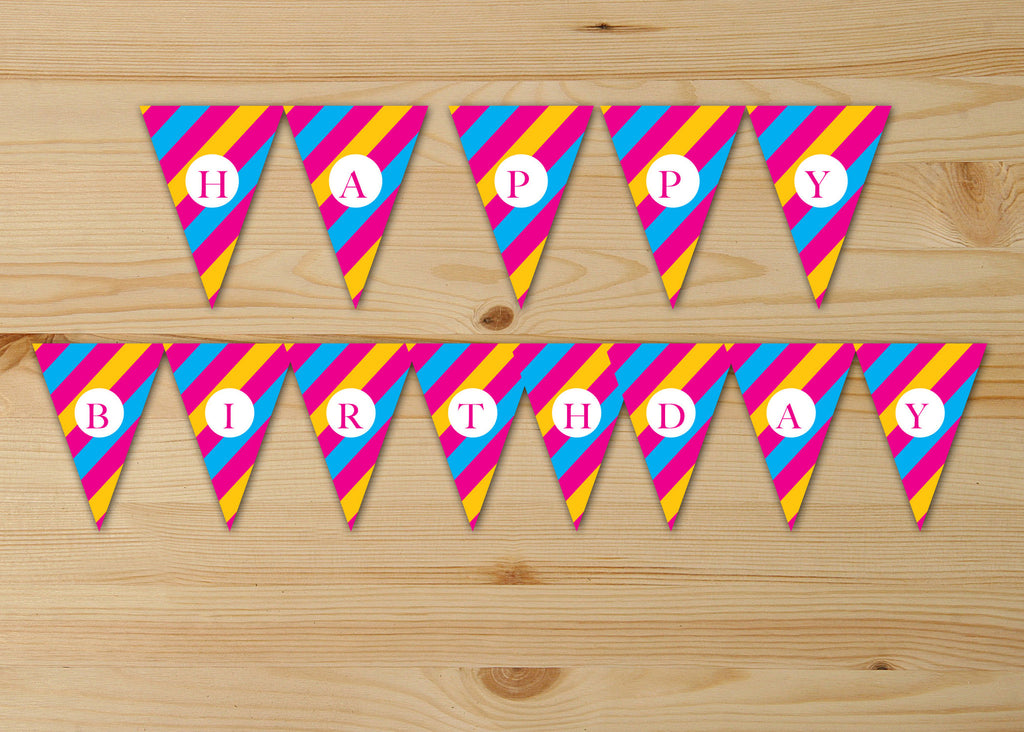 Printable Striped Party Banners