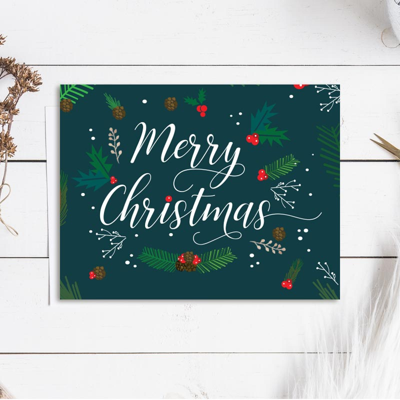 Merry Christmas Foliage Cards