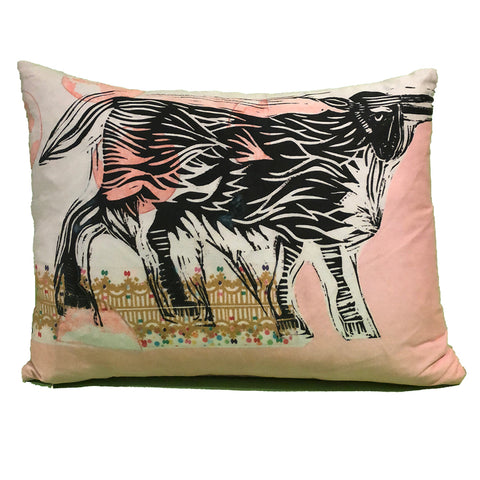 Pillow: Ox with Pink Background