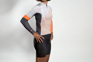 Unisex dot-dot-dot Grey + FLUOrange arm warmers