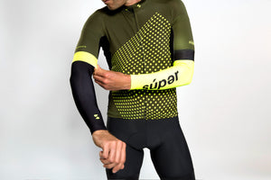 Unisex dot-dot-dot Green + Acid arm warmers