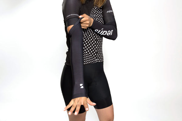 Unisex dot-dot-dot Black + White arm warmers