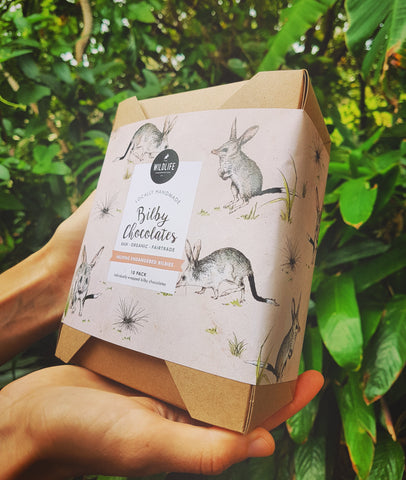 (SOLD OUT) Large Box of 10 Individually Wrapped Bilbies | Organic Bilby Chocolates | Fair Trade, Raw Cacao, Ethical, Sweetened using Australian Honey, Sustainable Packaging | Helps Bilbies!