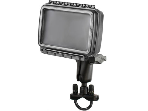 RAM-B-149Z-AQ6U | RAM Handlebar Rail Mount with Zinc Coated U-Bolt Base & Sealed Enclosure Medium/Wide Size AQUA BOX®