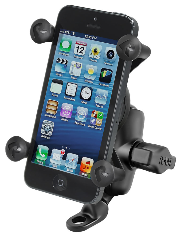 RAM-B-272-A-UN7 RAM 9mm Angled Base Motorcycle Mount with Short Double Socket Arm & Universal X-Grip® Cell/iPhone Holder
