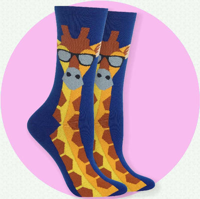 Women's Socks - Giraffe with Glasses
