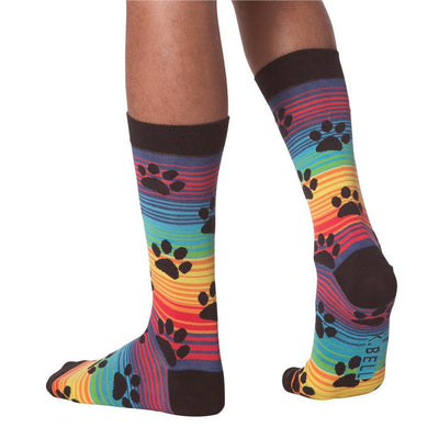Men's Socks - Rainbow Stripe Paw Prints