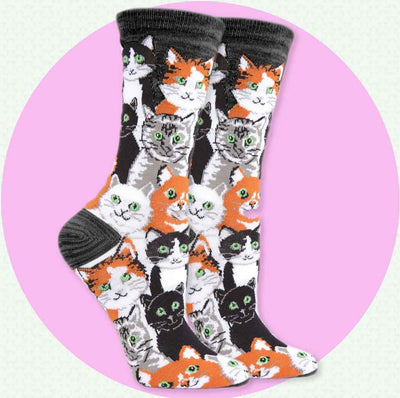 women's socks - multi cats