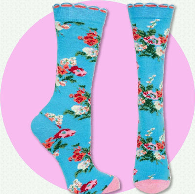 women's socks - Pink Flamingos and Stripes