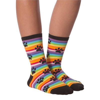 Women's Socks - Rainbow Stripe With Paws