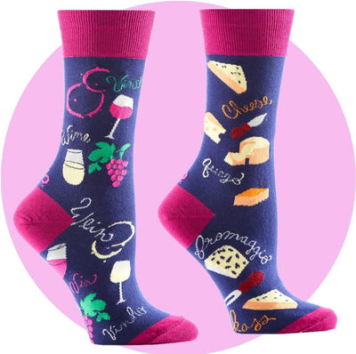 Women's Socks - Wine And Cheese