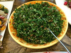Tabouli Salad, made with parsley, tomatoes, cauliflower, green onions, and greek Isle dressing