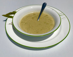 Vegan Asparagus soup,  cashews, asparagus Golden Broth Seasoning
