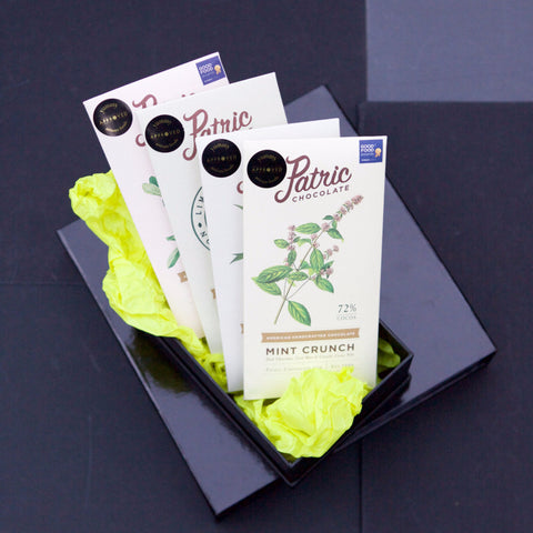 Chocolate - Award Winning collection of 4 different Patric Chocolate Bars in stylish Black Box