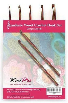 "KnitPro ""Symfonie"" Wood Single End Crochet Hooks - Set of 5  