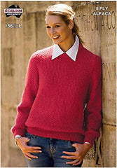 Ladies 8-Ply Jumper/Sweater Knitting Pattern Leaflet by Heirloom (#156)  | KNITTING CO.