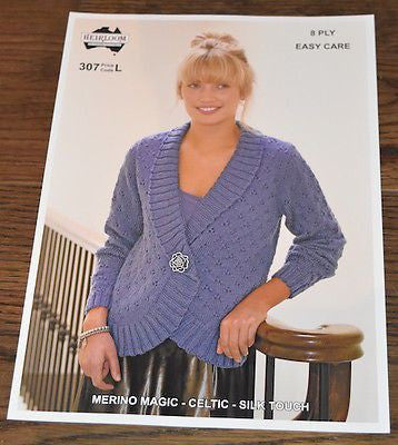 Ladies 8-Ply Cardigan / Sweater Pattern Leaflet by Heirloom (#307)  | KNITTING CO. - 1