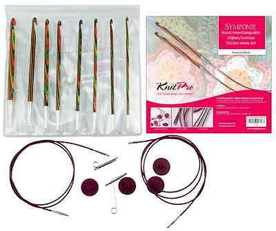 "KnitPro ""Symfonie"" Wood Afghan/Tunisian IC Crochet Hook Set  