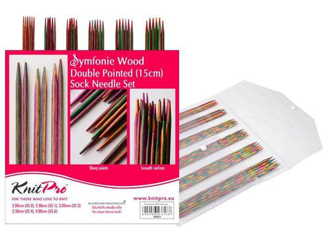 "KnitPro ""Symfonie"" Double Pointed Knitting Needles Set - 10cm or 15cm 15cm (6"") 