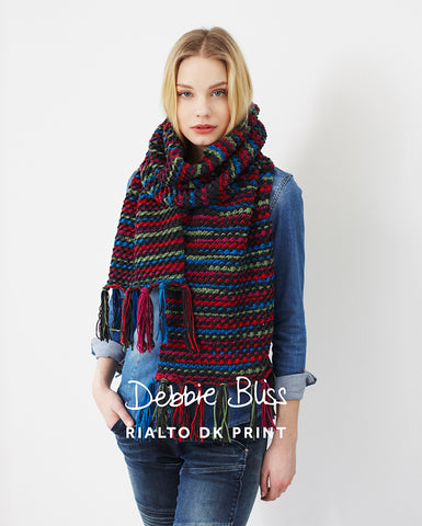 "Debbie Bliss ""Fringed Wrap"" Rialto DK Prints Scarf Knitting Pattern Leaflet (#033)"