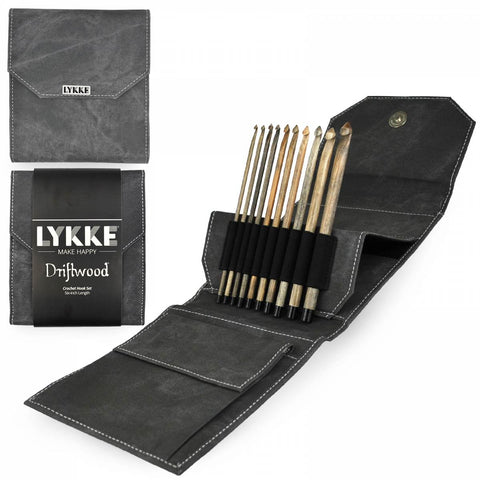 "Lykke ""Driftwood"" Crochet Hooks in Grey Denim - Set of 10"