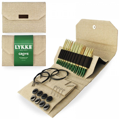 "Lykke ""Grove"" Bamboo 5"" Interchangeable Circular Knitting Needles Set - Beige"