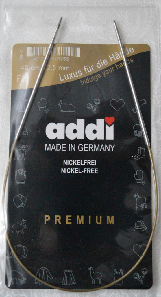 "Addi Brass Tip Circular Knitting Needles - 40cm (16"")"