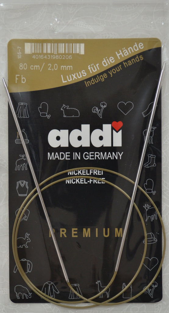 "Addi Brass Tip Circular Knitting Needles - 80cm (32"")"