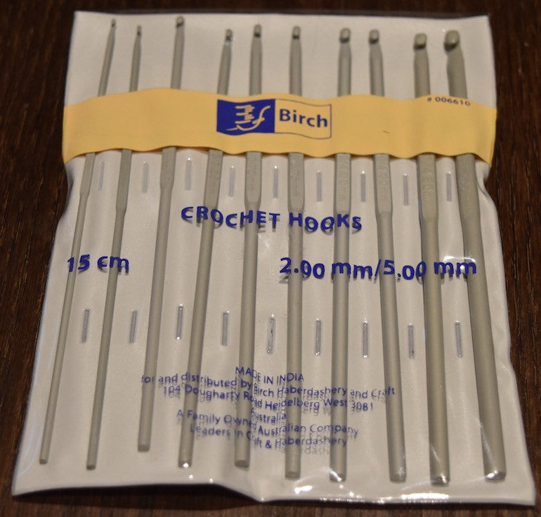 Birch Grey Aluminium Crochet Hooks - Set of 10 (2.00mm - 5.00mm)  | KNITTING CO. - 1